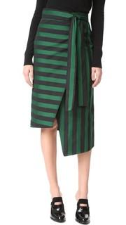 Полосатая юбка с запахом Rochas