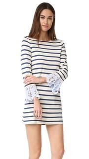 Платье с полосками и кружевным шитьем Sea
