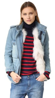 Пальто из денима с подкладкой из искусственного лисьего меха Jocelyn