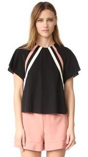 Блуза с короткими рукавами и спортивными полосками RED Valentino