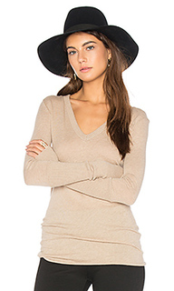 Rib cuff v neck long sleeve tee - Enza Costa
