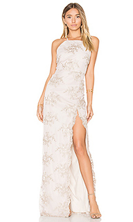 Embroidered square neck gown - Donna Mizani