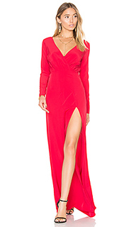 Embroidered drape neck gown - Donna Mizani