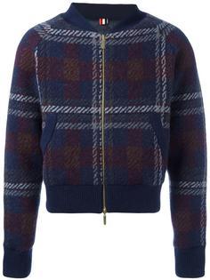 клетчатая вязаная куртка-бомбер Thom Browne