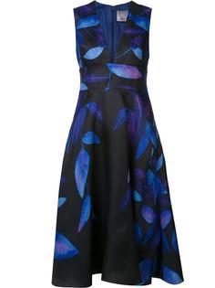 deep V-neck flared dress Lela Rose