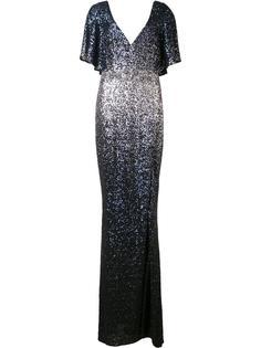 длинное расшитое пайетками платье Marchesa Notte