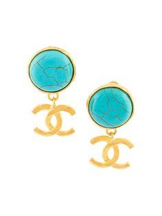 клипсы с логотипом и бирюзой Chanel Vintage