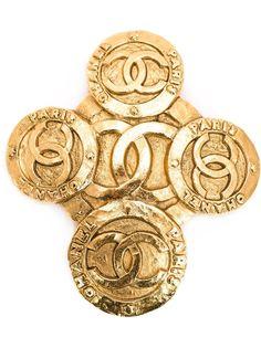 брошь в форме креста с логотипом Chanel Vintage