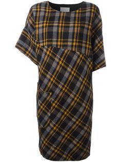 платье в клетку с асимметричными рукавами Maison Margiela