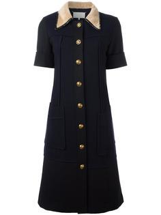 платье-рубашка с меховым воротником Maison Margiela