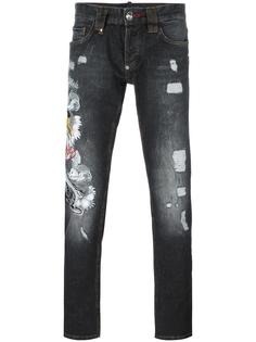 джинсы с вышивкой тигра Philipp Plein
