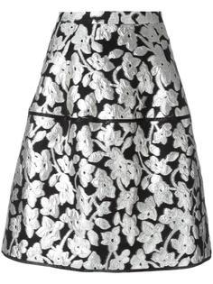 юбка с цветочным узором металлик Oscar de la Renta