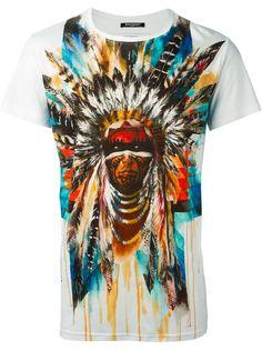 футболка с принтом индейца  Balmain