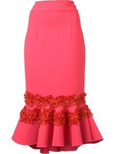 юбка с оборками и цветочной вышивкой Carolina Herrera