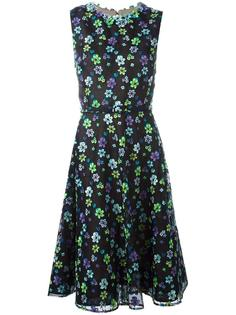 floral embellished flared dress Oscar de la Renta