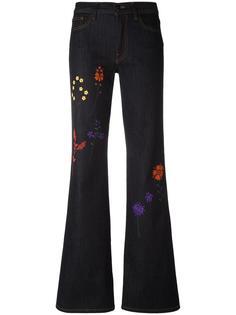 расклешенные джинсы с вышивкой Fendi