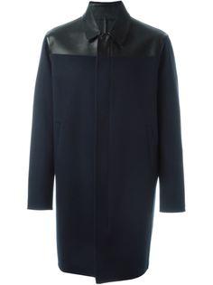 пальто с кожаными панелями Valentino