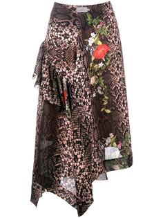 асимметричная юбка с узором под питона Preen By Thornton Bregazzi