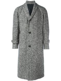 пальто с лацканами-шалька в елочку Wooster + Lardini