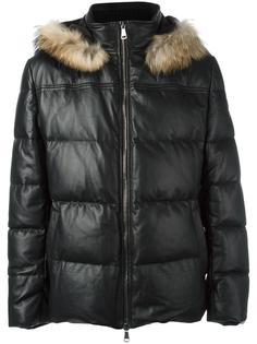 пальто-пуховик с капюшоном и мехом енота Baldinini
