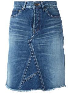 джинсовая юбка А-образного кроя Saint Laurent