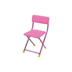 """Складной стул с мягким сиденьем """"КУ1"""" Горошек, Ника, розовый"""