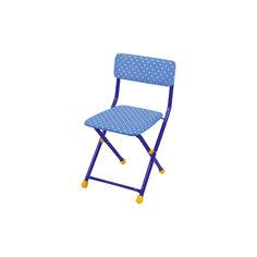 """Складной стул с мягким сиденьем """"КУ1"""" Горошек, Ника, синий"""