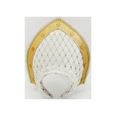 Кокошник 23х30 см, белый с золотым Новогодняя сказка