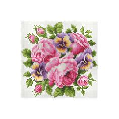 """Алмазная мозаика по номерам """"Розовые цветы"""" 20*20 см (на подрамнике) Tukzar"""