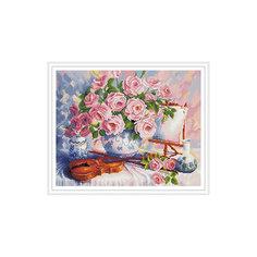 """Алмазная мозаика """"Розы и скрипка"""" 40*50 см Tukzar"""