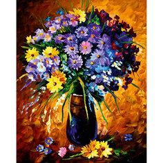 """Алмазная мозаика по номерам """"Фиолетовый букет"""" 40*50 см, с прозрачными стразами Tukzar"""