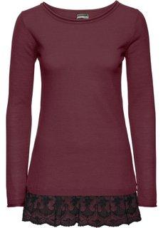 Вязаный пуловер с кружевом (светло-серый/черный) Bonprix