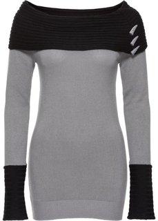 Вязаный пуловер (черный/серый) Bonprix