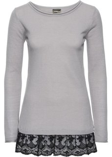Вязаный пуловер с кружевом (кленово-красный/черный) Bonprix