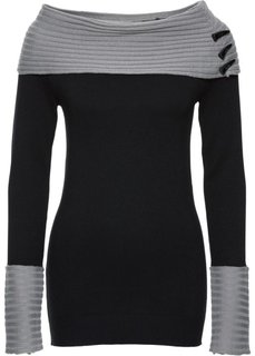 Вязаный пуловер (серый/черный) Bonprix