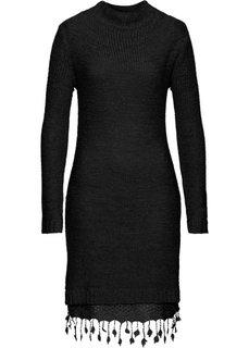 Вязаное платье с кружевной отделкой (дымчато-розовый) Bonprix