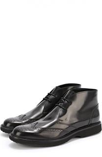 Кожаные ботинки с брогированием Hogan