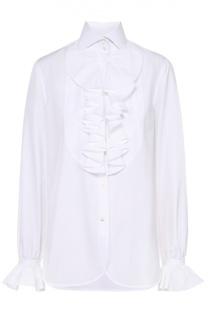 Блуза прямого кроя с воротником-жабо Ralph Lauren