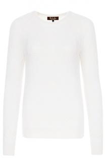 Кашемировый пуловер фактурной вязки с круглым вырезом Loro Piana