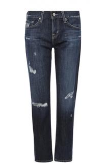 Укороченные джинсы прямого кроя с декоративными потертостями Ag