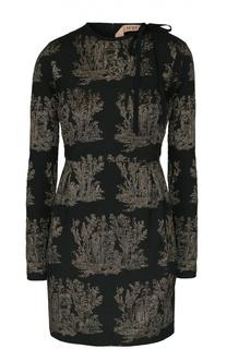 Мини-платье с длинным рукавом и металлизированной отделкой No. 21