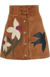 Замешвая мини-юбка с широким поясом и контрастными нашивками REDVALENTINO