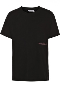 Хлопковая футболка с контрастной вышивкой Elevenparis