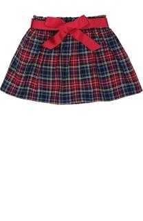 Хлопковая юбка в клетку с поясом Polo Ralph Lauren