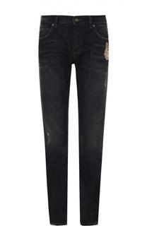 Зауженные джинсы с потертостями и вышивкой Dolce & Gabbana