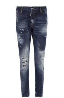 Зауженные джинсы с потертостями и контрастной отстрочкой Dsquared2
