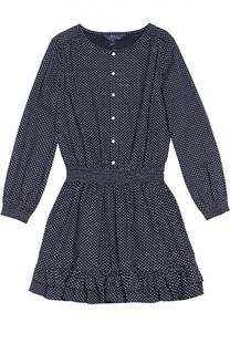 Хлопковое платье с длинными рукавами и поясом на резинке Polo Ralph Lauren
