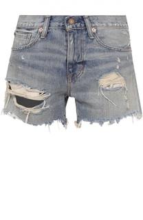 Джинсовые мини-шорты с потертостями и бахромой Denim&Supply by Ralph Lauren