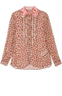 Шелковая блуза прямого кроя с цветочным принтом и оборками Coach