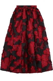 Юбка-макси с контрастным цветочным принтом Elie Saab